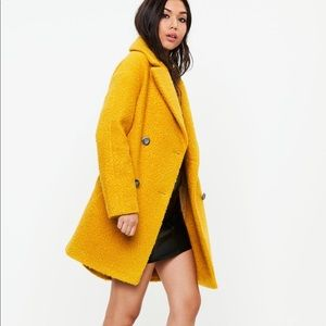 Missguided Oversized Boucle Coat (Mustard)